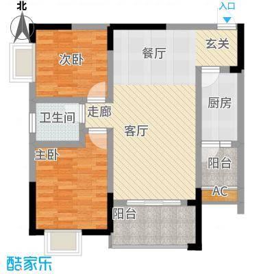 中国铁建中铁5号68.42㎡一期1号楼标准层A2户型