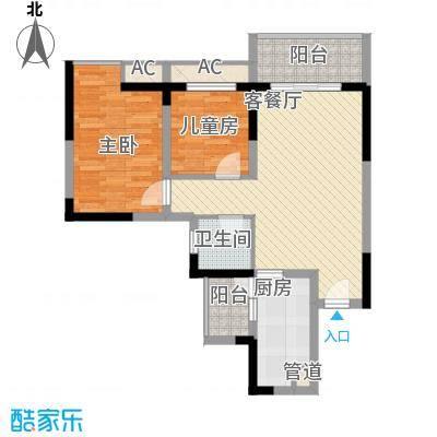 合川德润世家70.93㎡一期5号楼标准层B6户型