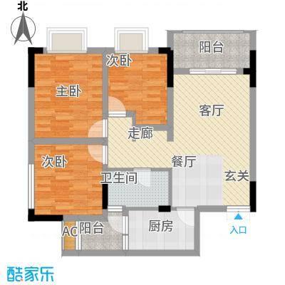 中国铁建中铁5号76.18㎡一期1号楼标准层B2户型