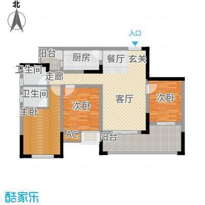 中国铁建中铁5号87.84㎡一期1号楼标准层B1户型