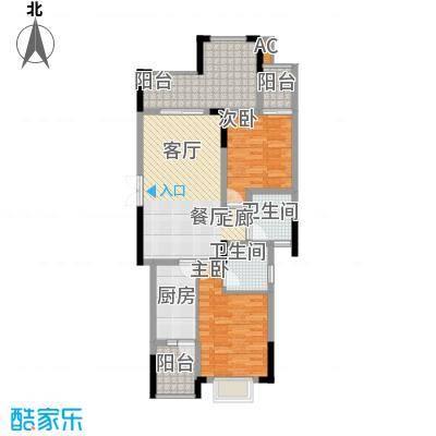中国铁建中铁5号79.93㎡一期1号楼标准层B3户型