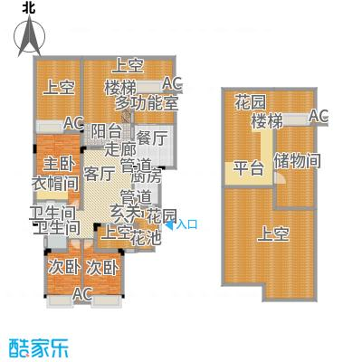 御城华府揽胜159.25㎡一期13-17号楼一层、地下室户型