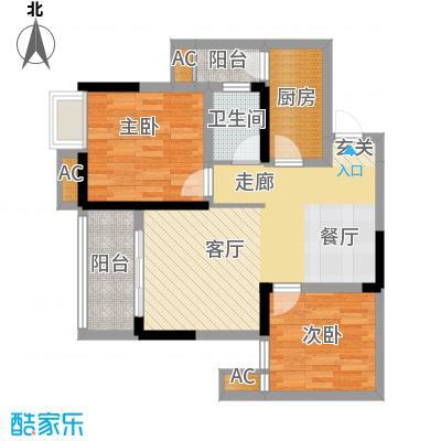 科艺花漾年74.29㎡二期花园电梯5号楼洋房标准层D5户型
