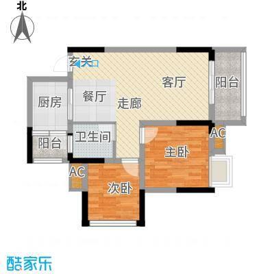 科艺花漾年69.24㎡二期花园电梯5号楼洋房标准层D2户型