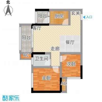 科艺花漾年70.47㎡二期花园电梯5号楼洋房标准层D4户型