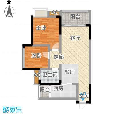 科艺花漾年76.05㎡二期花园电梯5号楼洋房标准层D6户型