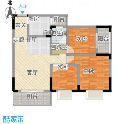 泰吉滨江二期岭澜85.70㎡一期D2栋标准层3/7号房户型