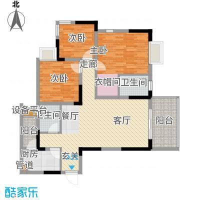 泰吉滨江二期岭澜97.03㎡一期D2栋标准层1/5号房户型
