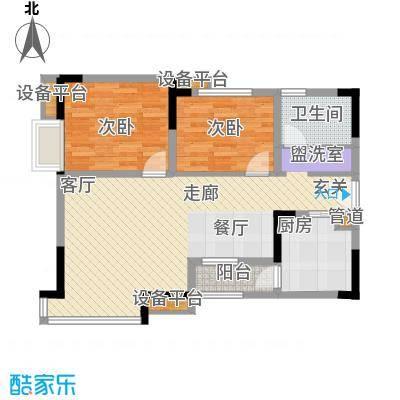 泰吉滨江二期岭澜91.47㎡一期C6栋标准层2号(售完)户型