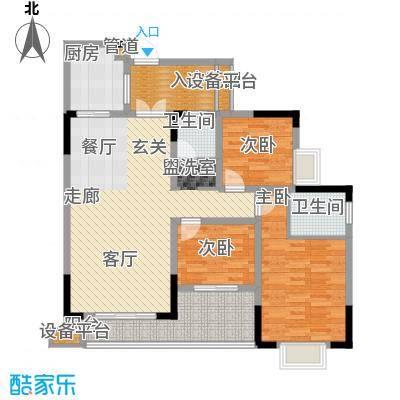 泰吉滨江二期岭澜100.13㎡一期D6栋标准层1/6号房户型