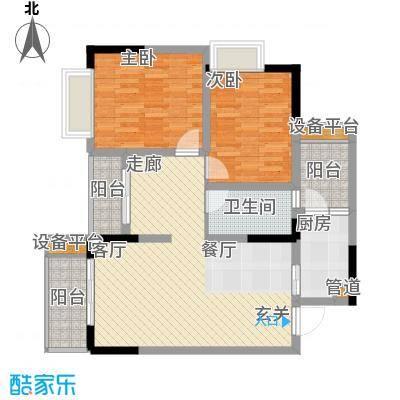 泰吉滨江二期岭澜75.44㎡一期C7栋标准层3号房(售完)户型