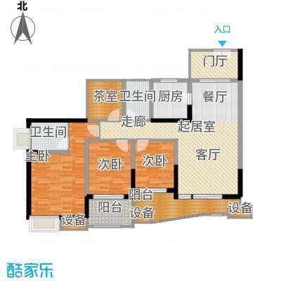 中渝山顶道国宾城108.00㎡二期8号楼标准层B3户型
