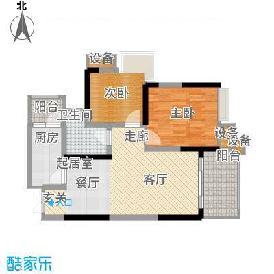 中渝山顶道国宾城69.00㎡一期10号楼标准层A3户型