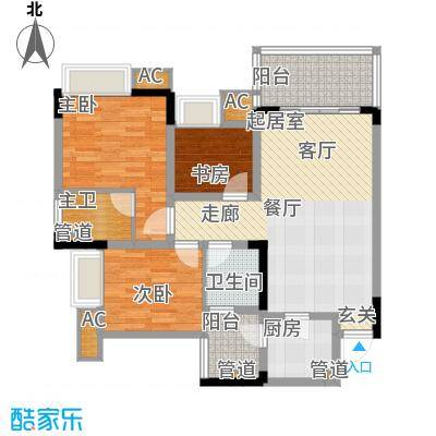 金悦湾83.43㎡一期1号楼标准层A户型