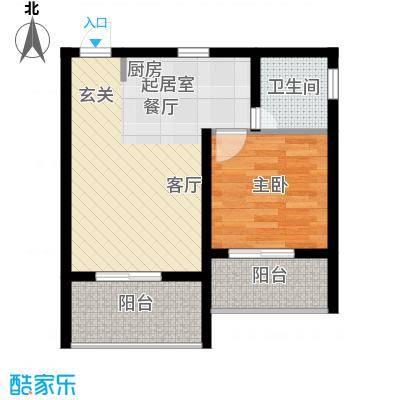 金佛美庐61.16㎡二期1号楼标准层D2户型