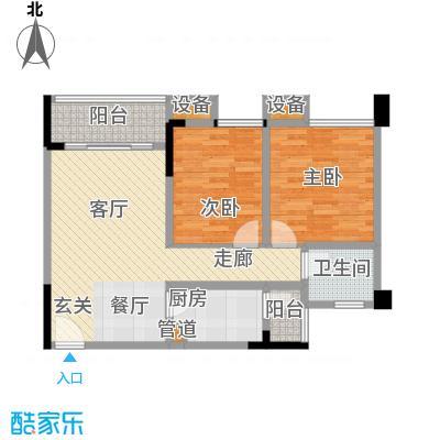华宇金沙港湾64.79㎡F栋2-17层4面积6479m户型