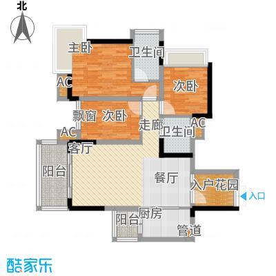 华宇北城中央89.65㎡22号楼3号房面积8965m户型