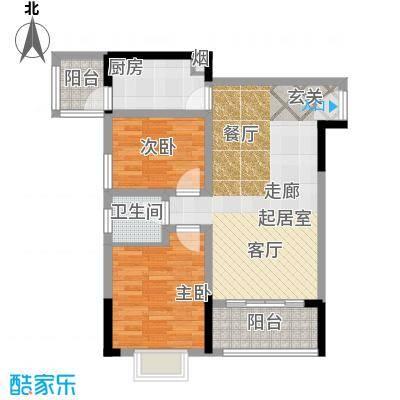 宝嘉花与山77.65㎡一期1号楼标准层A户型