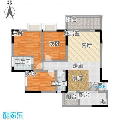 宝嘉花与山108.93㎡一期1号楼标准层D2户型