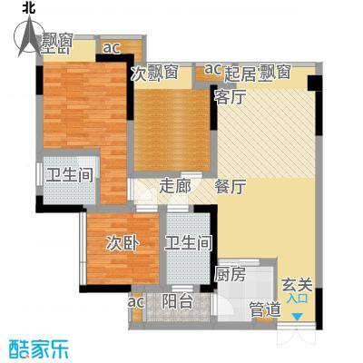 科艺福江名都77.11㎡1期7号楼标准层2号房户型