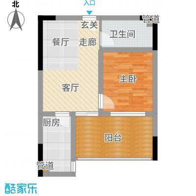 七彩景秀54.90㎡一期2号楼标准层D户型