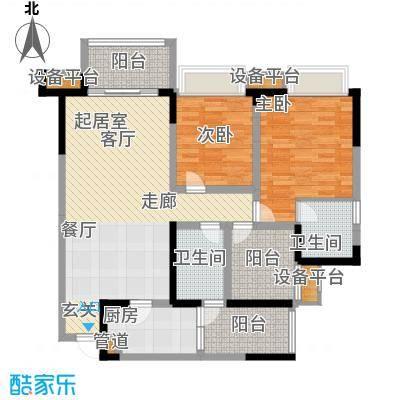东原D7区87.83㎡四期10号楼标准层3号房户型