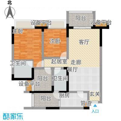 东原D7区87.08㎡四期10号楼标准层2号房户型