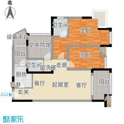 合川宝润国际105.13㎡二期1、7号楼标准层E户型