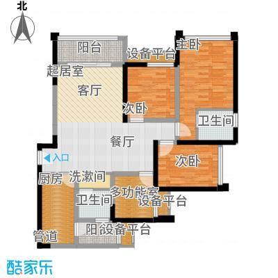 东原D7区95.74㎡二期2号楼标准层G户型
