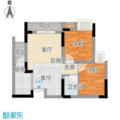 瀚恩韵动51.00㎡C2-3栋3、7号房标准层户型