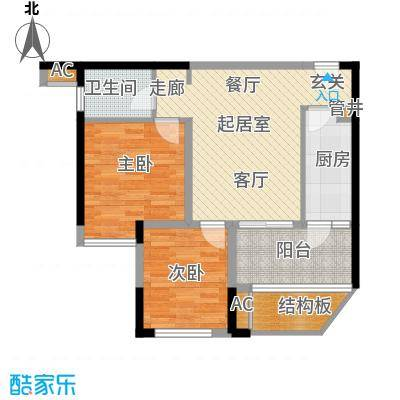 合川宝润国际70.42㎡二期1、7号楼标准层B户型
