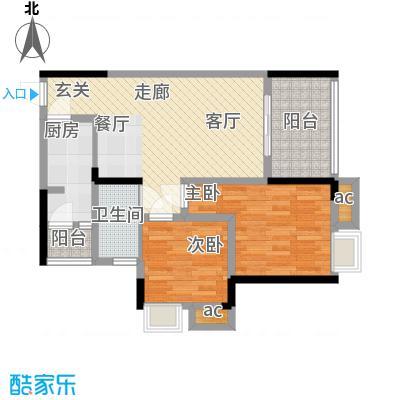 巨龙江山国际78.92㎡2期高层14、15号楼标准层H1-8户型