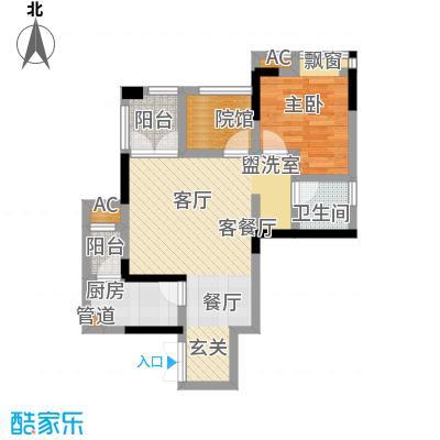 康田漫香林49.00㎡一期1号楼标准层A户型