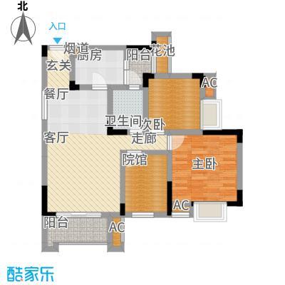 爱情谷76.00㎡一期1、2、3、4、5号楼标准层B3户型