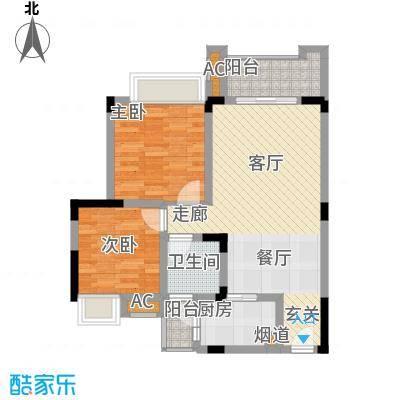爱情谷67.00㎡一期1、2、3、4、5号楼标准层B1户型