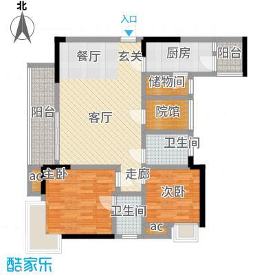 巨龙江山国际98.68㎡2期高层14、15号楼标准层H1-2户型