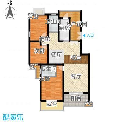 川东瀛嘉天下123.27㎡一期3-8号楼3楼H户型