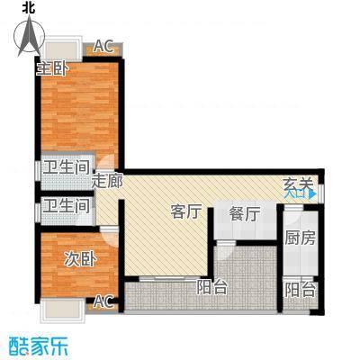 川东瀛嘉天下96.02㎡一期1/2/9/10号楼标准层A2户型
