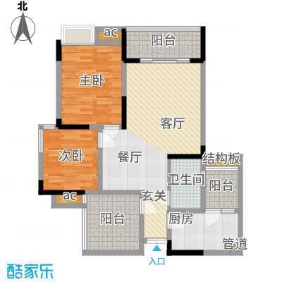 中凯翠海朗园76.41㎡3、10#-A2面积7641m户型
