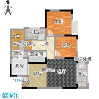 银翔城87.36㎡二期2、6号楼标准层B4户型