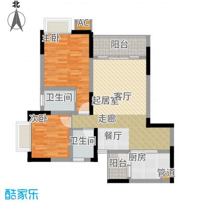 金科绿韵康城74.93㎡17号楼1、3面积7493m户型
