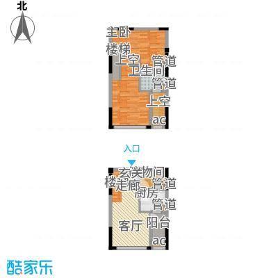 优跃城57.62㎡一期3/5号楼I7跃层户型