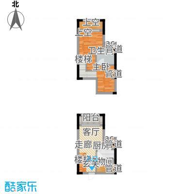 优跃城47.39㎡一期3/5号楼I10跃层户型