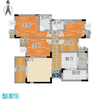 鲁能领秀城96.99㎡二期2、4、7、8、11、12、18号楼标准层F5户型