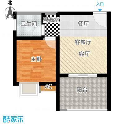 重庆红枫林国际度假村43.10㎡一期9号楼标准层B4户型