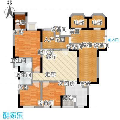 南方书苑湖畔82.32㎡1期1栋2单元标准层2号房3室户型