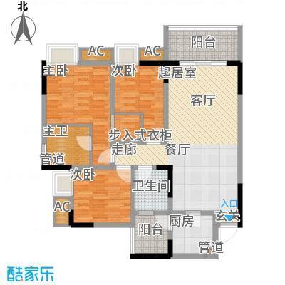 金悦湾90.74㎡2号楼标准层5、7号房A户型