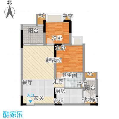 金悦湾64.82㎡一期2号楼标准层B户型
