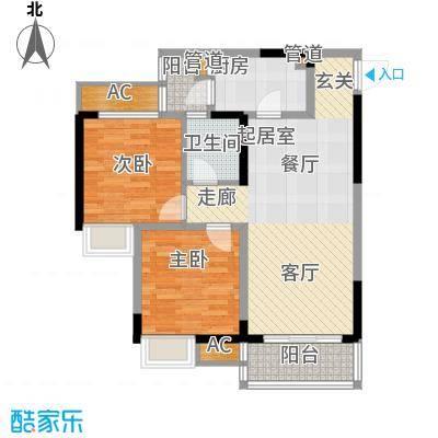 金悦湾86.57㎡一期1号楼标准层D户型