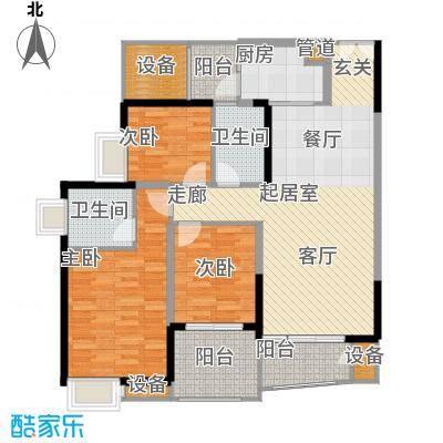 中渝山顶道国宾城98.51㎡二期7号楼标准层C2户型